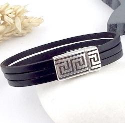 Tutoriel bracelet cuir noir homme geometrique