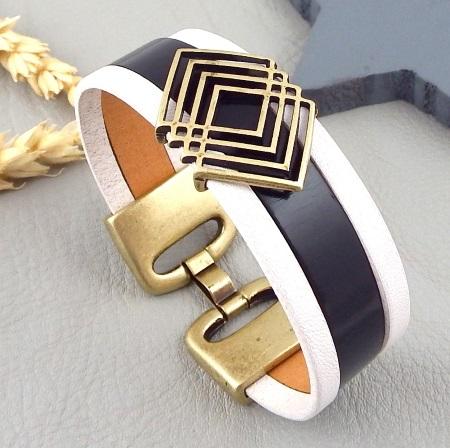 bracelet cuir manchette noir et blanc