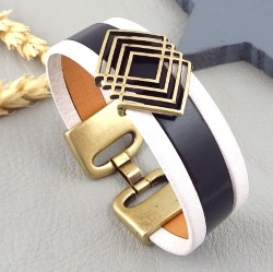 Kit bracelet cuir noir et blanc boho avec perle et fermoir bronze