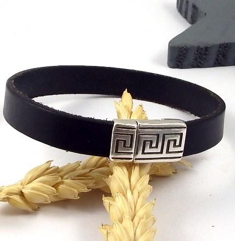 Kit bracelet cuir noir simple fermoir argent geometrique ethnique