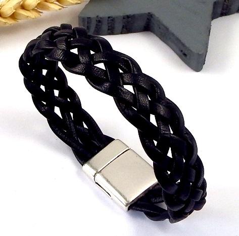 Bracelet en cuir noir tresse 5 brins